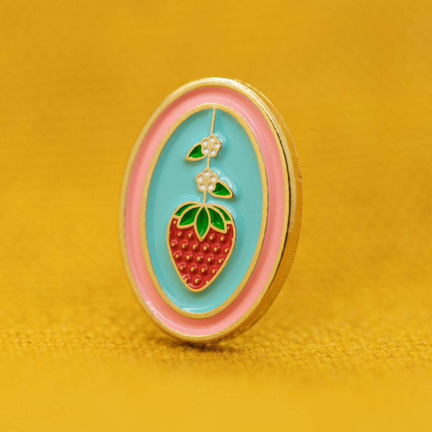 Mini Strawberry Oval Enamel Pin