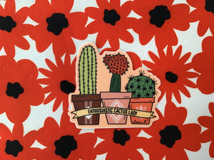 Enthusiastic Cactus Lady Sticker