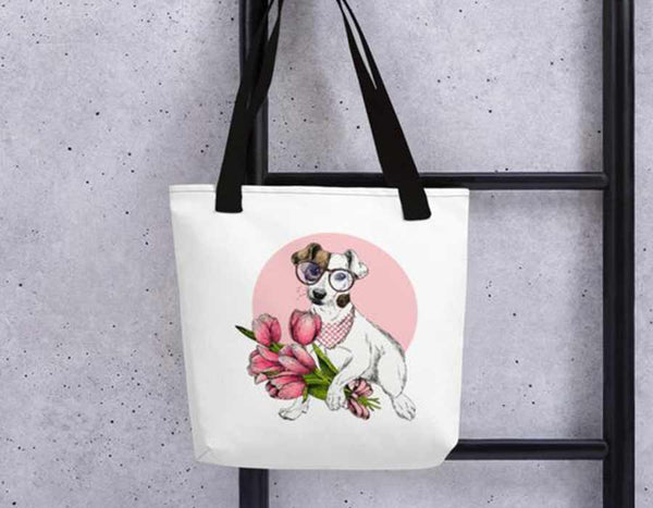 Cute woman fashion pet lover bag pink white jack russell flowers cute