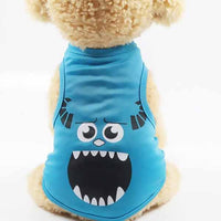 Blue fun and unique pets' cartoon vest wore by a cute pet dog