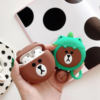 Brown Bear Green Frog Bear Airpods 2 Case Silicone Cover Charging Box Gift