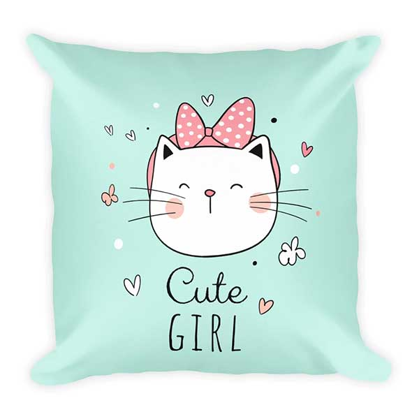 Cute girl cat green pet-inspired pillow cats pets unique designer fashion home decor
