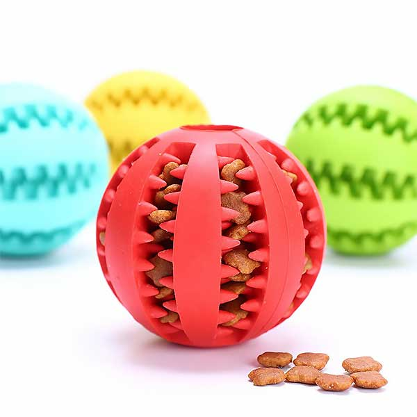 Pet Dog Toys Interactive Treat Ball Chew Treats Toy Pets Dogs Play Rubber