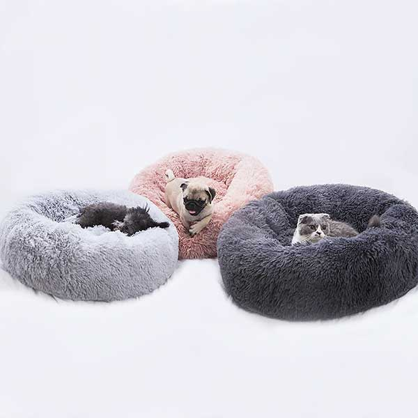Cute Pets Dogs Cats Fluffy Pet Bed Round Plush Dog Cat House Soft Gift