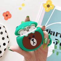 Cute Green Frog Bear Apple Airpods 2 Silicone Case Cover Protection Gift