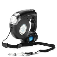 Black LED Light Pet Dog Leash Flashlight Extendable Dog Walker Garbage Bag