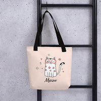 Cute pet cat meow unique designer shopping tote bag with cat design women