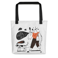 Cute unique designer women's fashion tote bag dog walk design pet dog lover