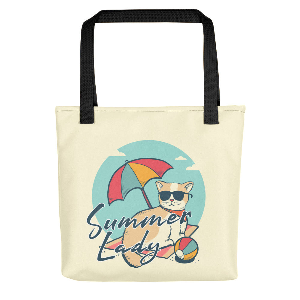 Cute designer summer tote bag pet cat wearing sunglasses on a beach gift