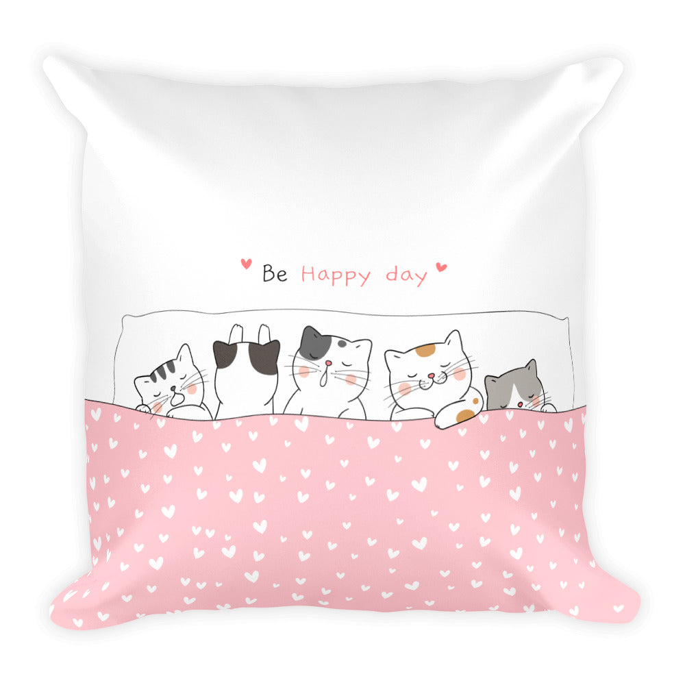 Cute unique designer artwork art pet cat cats sleeping in bed home decor pillow