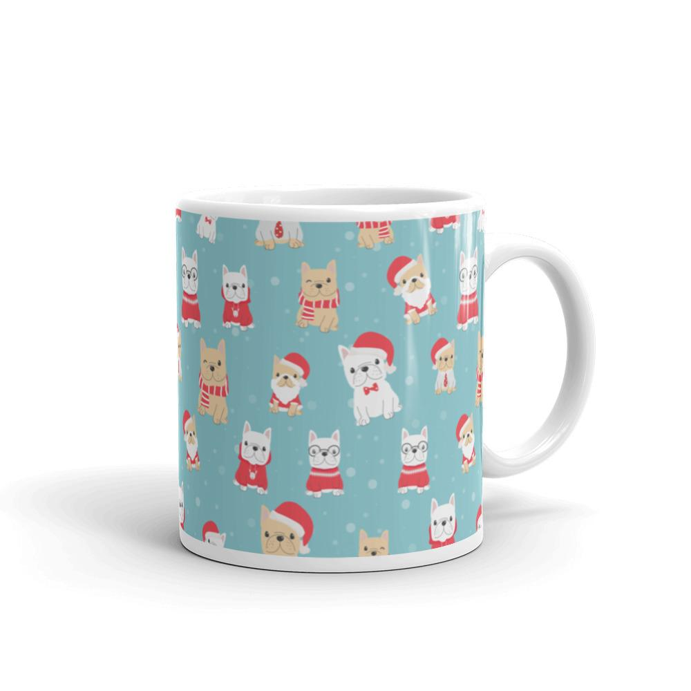 Blue Designer French Bulldog Pet Christmas Coffee Mug Dog Lover Frenchie Gift