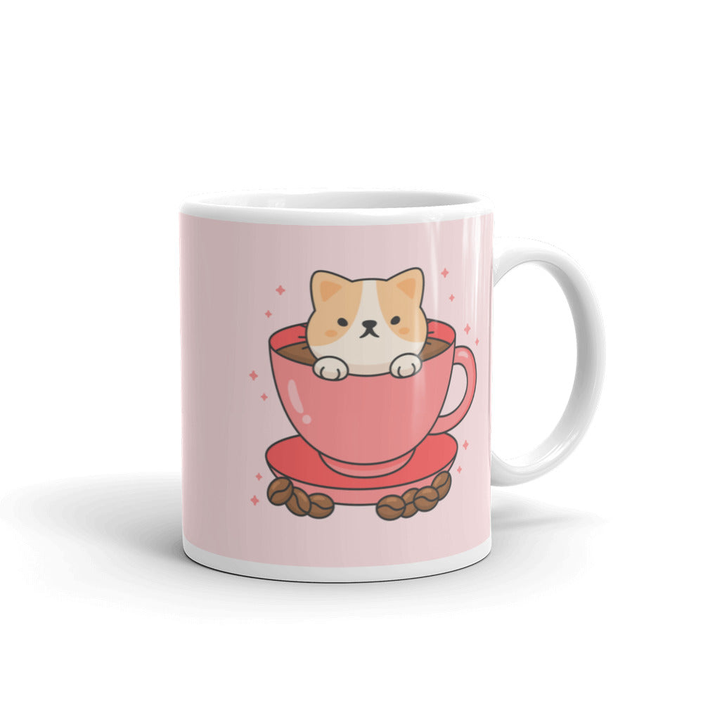Beautiful unique pink cat in cup mug for coffee tea designer perfect gift pet lover rose