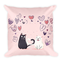 Beautiful unique pink rose fashion home decor pillow cute pet cats black and white