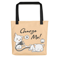 Black beige pet cat lover tote bag pet cats motive unique designer fashion bag