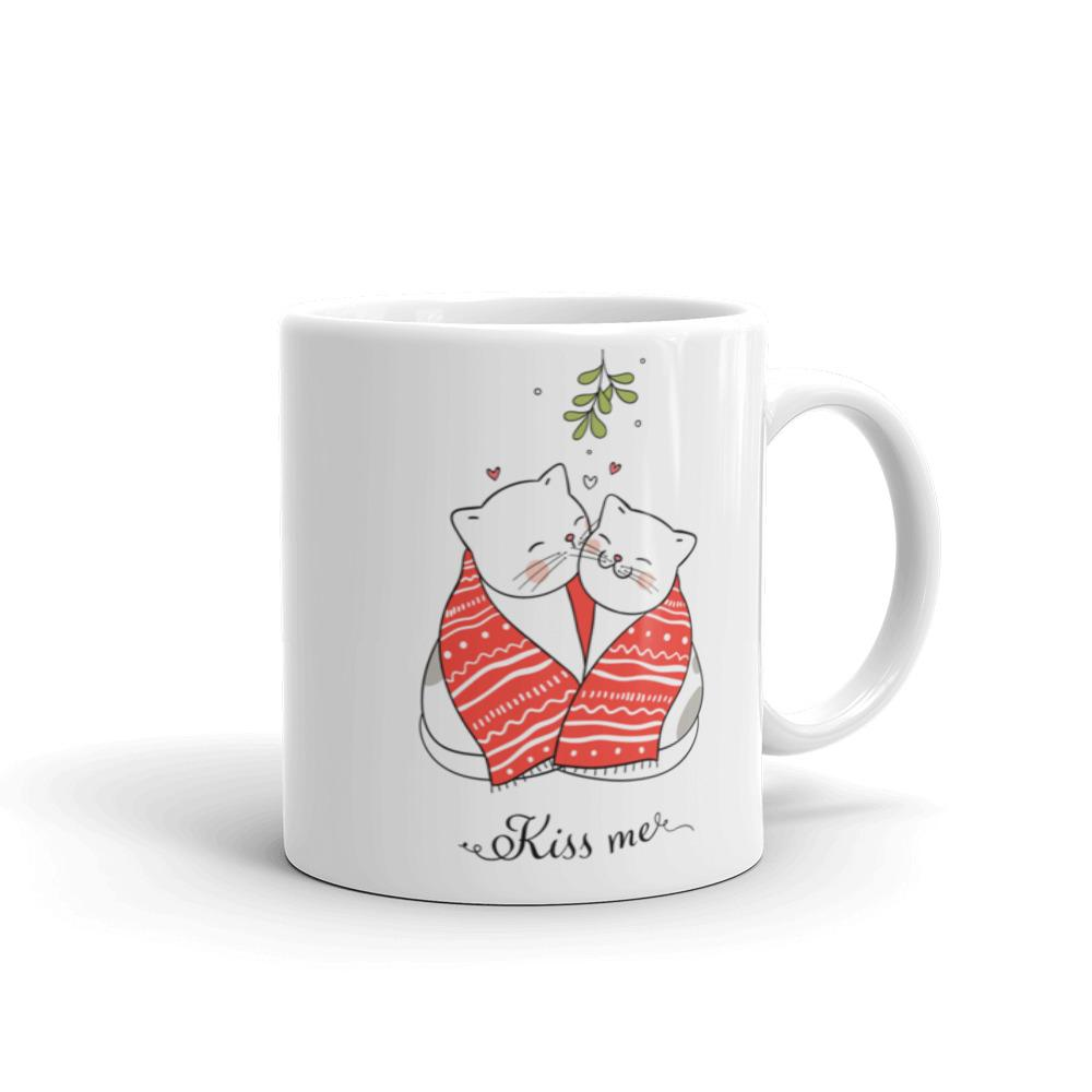 Cute Love Christmas Pet Cats Kissing Coffee Tea Mug Gift Pet Owner Accessories