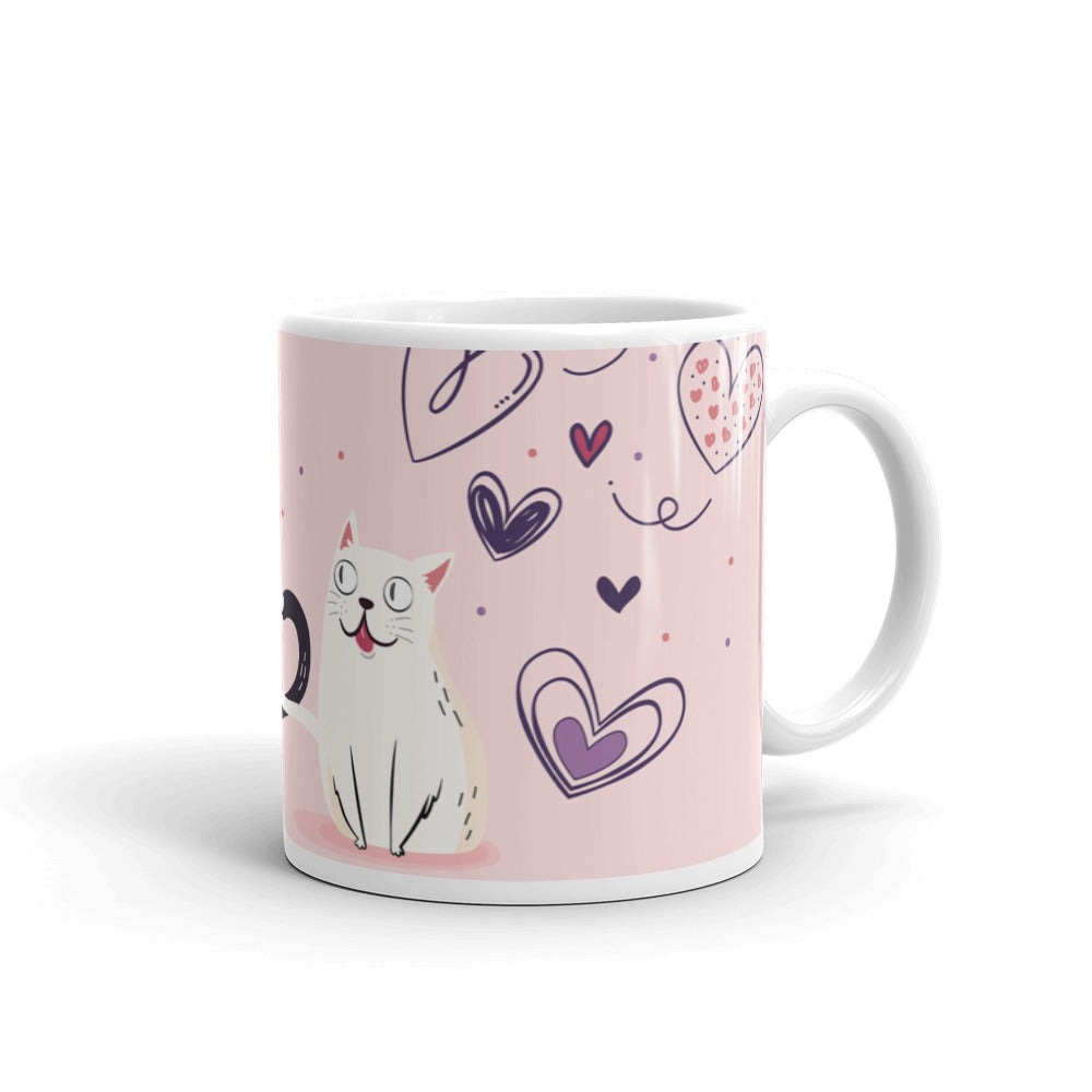 Stylish designer coffee mug hot tea pet cat white hearts pink shop