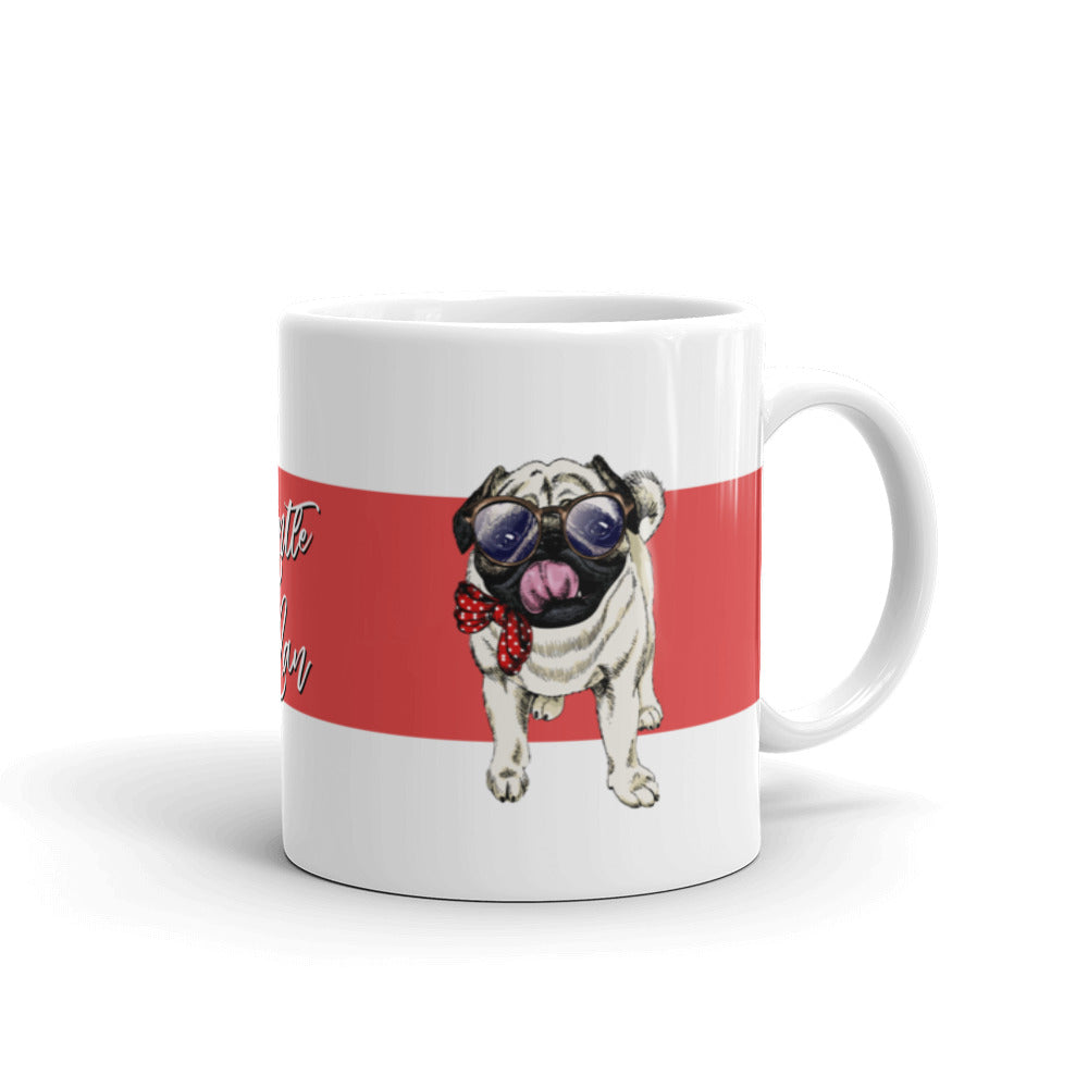 Cute pug pet dog standing on a beautiful unique designer mug for coffee and tea