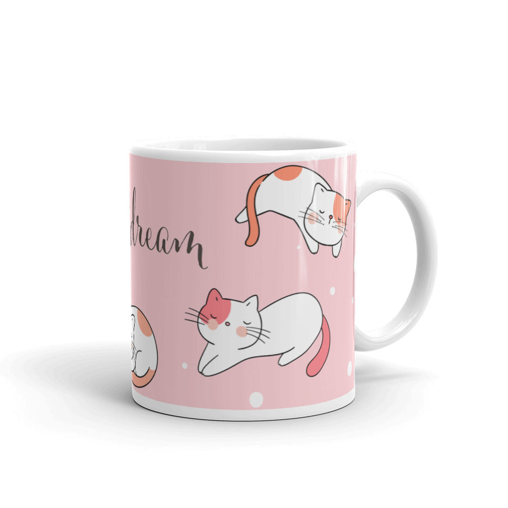 Adorable unique pet cats coffee mug cup drink pets cat sweet dreams gift