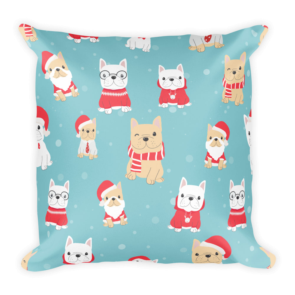Cute Blue Pet Dog Christmas Decorative Pillow Pets Dogs Festive Design Gift