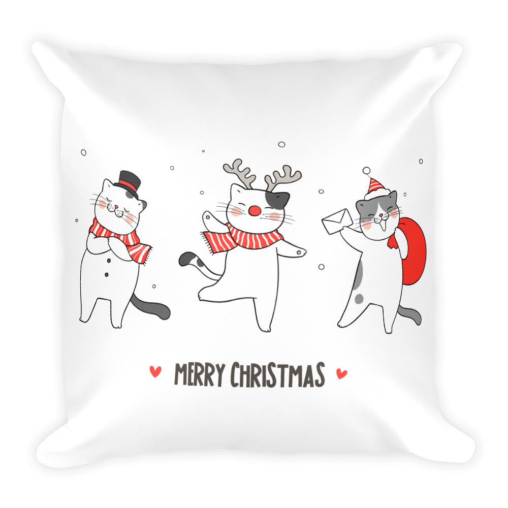 Cute Merry Christmas Pet Cats Decorative Pillow Home Decor Pet Cats Lover Gift