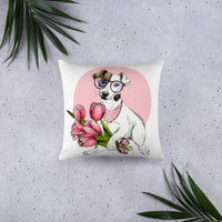 Cute pink Jack Russell Terrier dog wearing glasses unique designer pillow home decor interior design