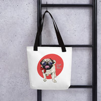 Unique Fashion Designer Tote Bag Cute Pet Dog Wearing Glasses Home Decor