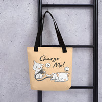 Showcase of black beige pet cat lover tote bag pet cats motive unique designer fashion bag