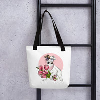 Cute pink flowers and pet dog jack russell designer tote bag fashion design
