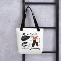 Creative unique designer women's fashion tote bag dog walk design pet dog lover