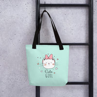 Green tote bag cute girl pet cat stylish fashion unique designer print cats