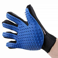 Blue Pet Hair Deshedding Glove for Removal of Dog and Cat Hairs In a Side view
