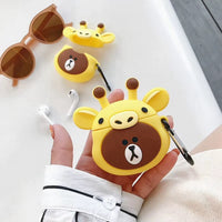 Cute Yellow Giraffe Bear Airpods 2 Case Charger Box Silicone Cover Animal Lover Gift