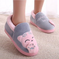 Cute Women Winter Warm Home Slippers Shoes Slipper Plush Pet Cat Cats Pink