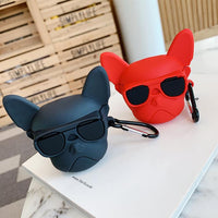 French Bulldog Designer Airpods Case Black Red Pet Dog Gift Airpods Silicone Cover