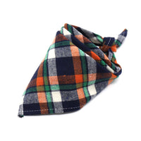Dark blue, green, orange and white dogs' neck bandana