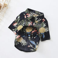 Black cotton Hawaii style colorful printed dog summer shirt in pets fashion