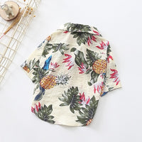 High-quality cotton Hawaii patterns white summer beach shirt for pet dog