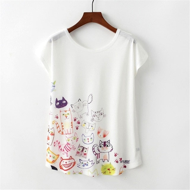 Cute Sketch Cats Fashion Trendy New Women T-Shirt Pet Lover Cute Animal Cats Cat Print T-shirt Casual Short Sleeve