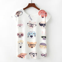 Hipster Dog Glasses Wearing Dogs Fashion Trendy New Women T-Shirt Pet Lover Cute Animal Print T-shirt Casual Short Sleeve
