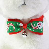Christmas pets handmade bow tie on a fluffy dog