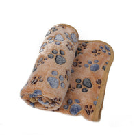 Warm Brown Dog Paw Polyester Fleece Blanket For Dogs and Pets
