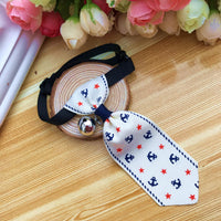 Stylish white adjustable pets collar tie with anchors and bell for pet dogs and cats