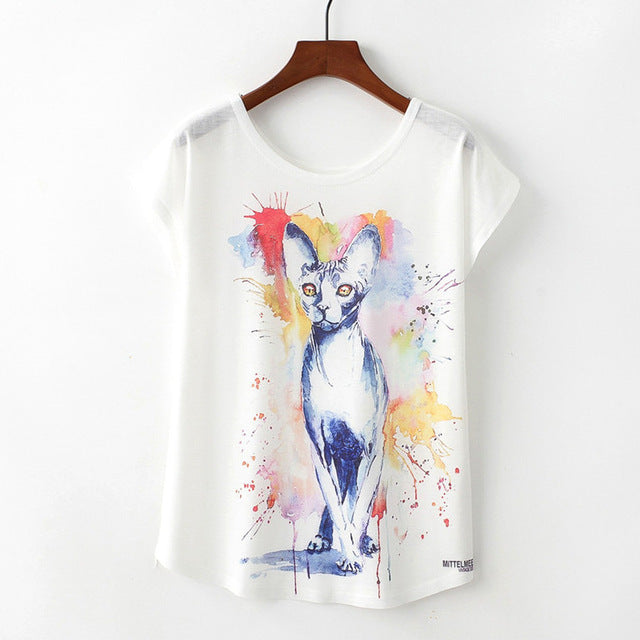 Summer New Women Funky Cat T-Shirt Pet Lover Cute Animal Cats Abstract Print T-shirt Casual Short Sleeve