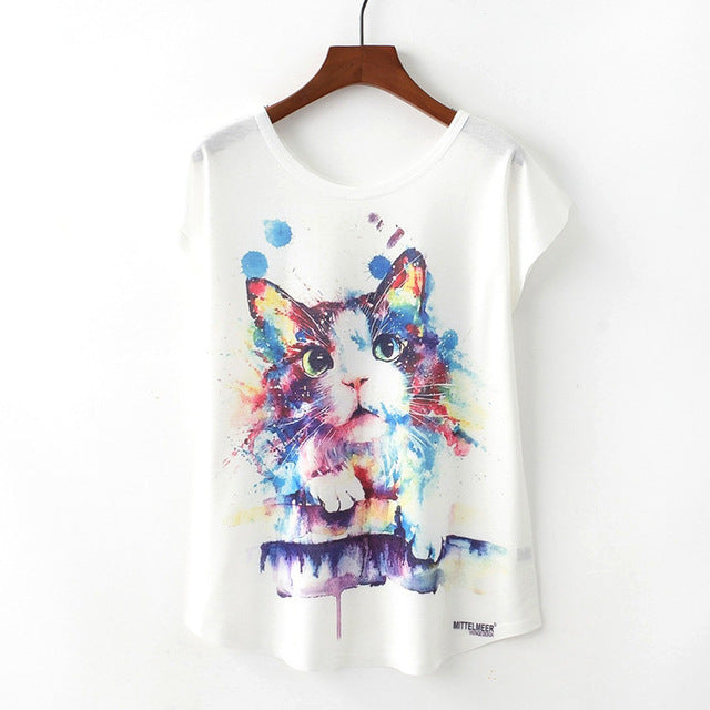 Space Astral Fashion Trendy New Women T-Shirt Pet Lover Cute Animal Cat Print T-shirt Casual Short Sleeve
