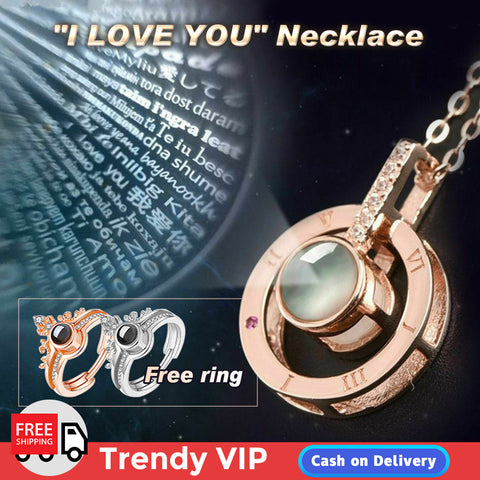 """I LOVE YOU"" Necklace (buy Necklace get Ring free)"