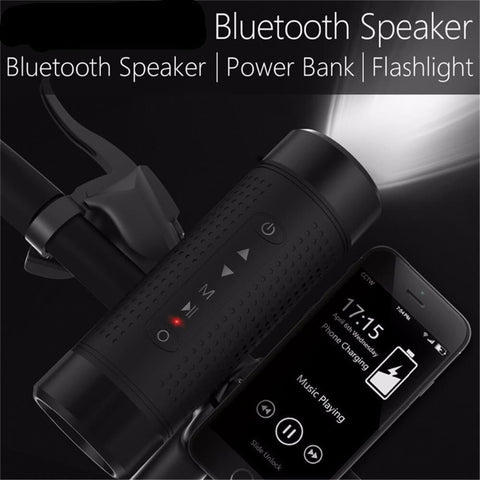 Outdoor Bluetooth Speaker Waterproof 5200mAh Power Bank Bicycle Portable Subwoofer Bass Speaker LED light+Bike Mount