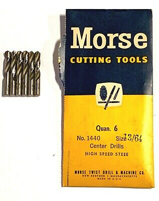 "Morse 13/64"" Center Drills High Speed Steel Centering Drill Bits 6 Pack USA Made"