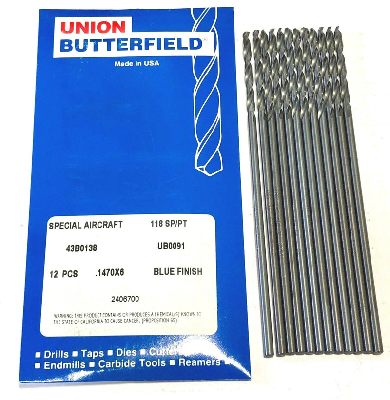 "Union Butterfield No.26 Aircraft Extension Drill Aviation 6"" 12 Pack USA"