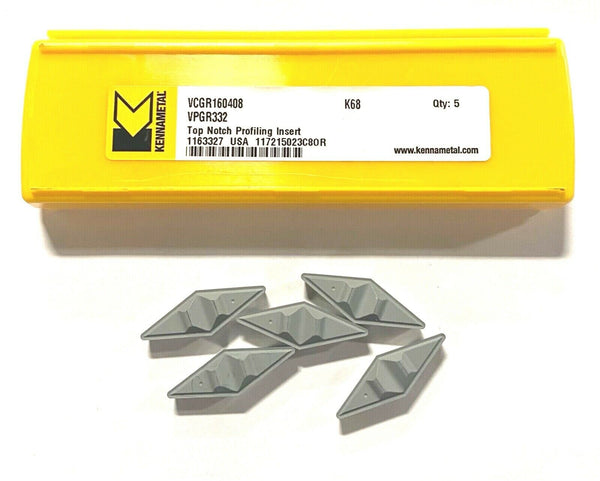 Kennametal Top Notch Carbide Profiling Inserts VPGR332 Grade K68 5 Pack