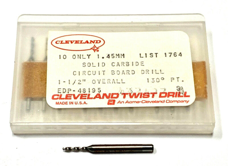 Cleveland Twist 1.45mm Solid Carbide Circuit Board Drills USA Made 10 Pack